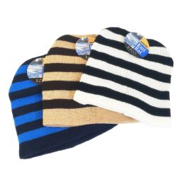 72 Units of MENS STRIPED KNIT WINTER HAT ASSORTED - Winter Beanie Hats