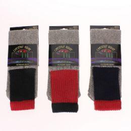 72 Units of Mens Cotton Thermal Socks Asst - Mens Thermal Sock