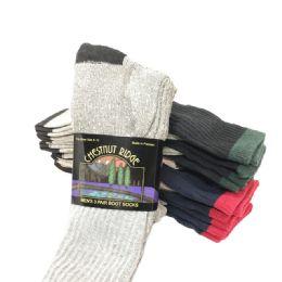 24 Units of Mens 3 Pack Boot Sock Assorted Colors - Mens Thermal Sock