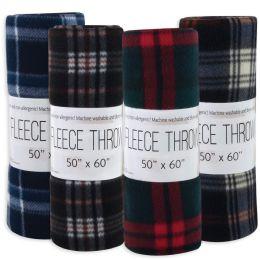"24 Units of Plaid Fleece Blankets 50"" x 60"" - Assorted Colors - Fleece & Sherpa Blankets"