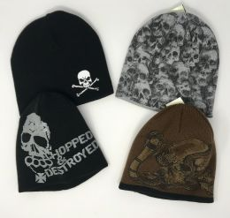24 Units of SKULL PRINT KNIT BEANIE CAP ASSORTED DESIGNS - Winter Beanie Hats