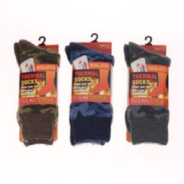 24 Units of MENS POLAR EXTREME HEAT CAMO THERMAL SOCKS - Winter Beanie Hats