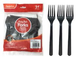 72 Units of Plastic Fork 51 Piece Pack Black Color - Party Paper Goods