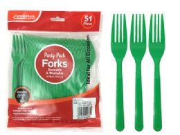 72 Units of Fork 51 Piece Green Color - Disposable Cutlery