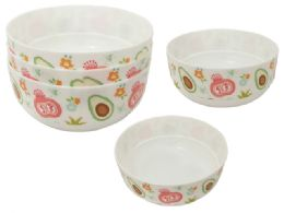 48 Units of 3 Piece Printed Bowls - Plastic Bowls and Plates