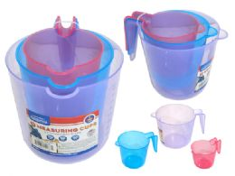 72 Units of 3 Piece Plastic Measuring Cup - Measuring Cups and Spoons