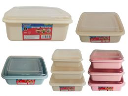 48 Units of 3 Piece Food Storage Rectangle Container - Food Storage Containers