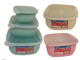 48 Units of 3 Piece Square Container Assorted Color - Food Storage Containers