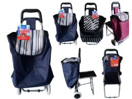 6 Units of Wheeled Shopping Cart With Seat - Travel & Luggage Items