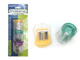 144 Units of Sharpener 3 Piece 2 Blade With Container - Sharpeners