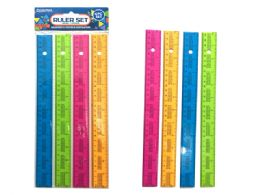 144 Units of Rulers 4 Piece Assorted Color - Rulers