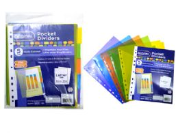144 Units of 5 Piece Pocket Tab Dividers - Dividers & Index Cards