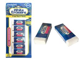 144 Units of Erasers 6 Piece Set In White Color - Erasers