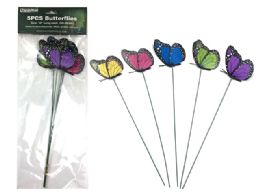 144 Units of 5 Piece Butterfly Stakes - Garden Decor