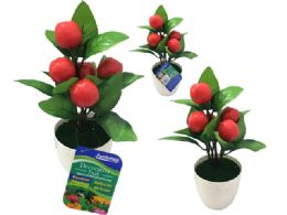 72 Units of 5 Head Apples In Flower Pot - Artificial Flowers