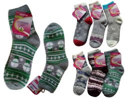 72 Units of Women's Thick Socks Assorted Designs One Size Fits Most - Womens Ankle Sock