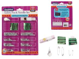 96 Units of 143 Piece Safety Pins And Needles Set - Sewing Supplies