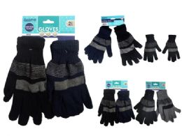 72 Units of Gloves 2 Pair Striped - Knitted Stretch Gloves