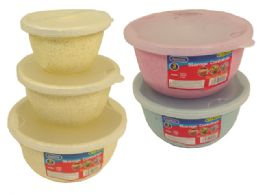 48 Units of 3 Piece Round Container Assorted Color - Food Storage Containers