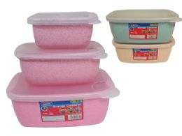 48 Units of 3pc Rect Food Containers - Food Storage Containers