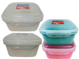 48 Units of Square Food Storage Air Tight Assorted Color - Food Storage Containers