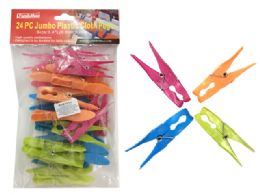 72 Units of Cloth Pegs 24 Piece Jumbo Plastic - Clothes Pins
