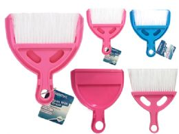 96 Units of DUSTPAN WITH BRUSH ASSORTED COLOR - Dust Pans