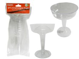 48 Units of 6 Piece Plastic Champagne Glasses - Party Paper Goods