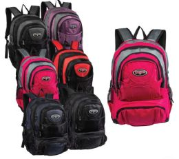 "24 Units of 19"" Multi Compartment Nylon Wholesale Backpacks in 6 Assorted Colors - School and Office Supply Gear"