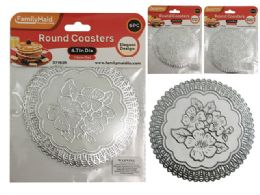 144 Units of 6 Piece Round Coasters In Silver - Coasters & Trivets
