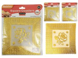144 Units of 6 Piece Square Coasters In Gold - Coasters & Trivets