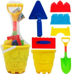 "9 Units of 7"" Beach Bucket W/ 7pc Acss In Pegable Net Bag, 2 Assrt - Beach Toys"