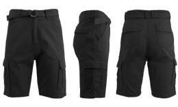 24 Units of Men's Cargo Shorts With Belt Black - Mens Shorts