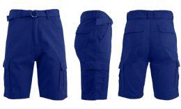 24 Units of Men's Cargo Shorts With Belt Royal Blue - Mens Shorts