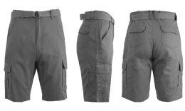 24 Units of Men's Cargo Shorts With Belt Grey - Mens Shorts