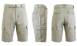24 Units of Men's Cargo Shorts With Belt Sand - Mens Shorts