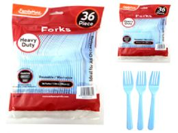 48 Units of 36 Piece Baby Blue Color Forks - Party Paper Goods