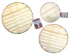 96 Units of Bamboo Hot Pad Metal Rim - Coasters & Trivets
