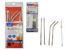 144 Units of 5 Piece Stainless Steel Straws And Cleaning Brush - Kitchen Gadgets & Tools