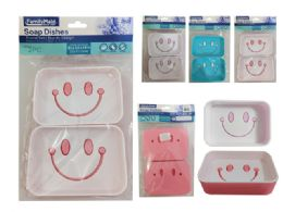 96 Units of 2 Piece Soap Dish Happy Face - Soap Dishes & Soap Dispensers