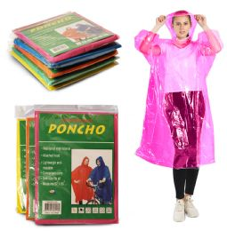 600 Units of Yacht & Smith Unisex One Size Reusable Rain Poncho Assorted Colors 60g Peva - Mens Clothes for The Homeless and Charity