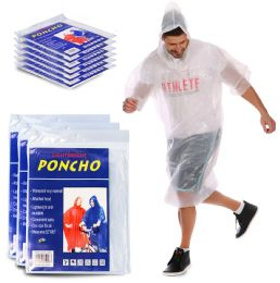 100 Units of Yacht & Smith Unisex One Size Reusable Rain Poncho Clear 60G PE - Event Planning Gear