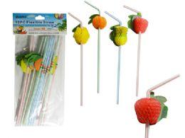 96 Units of 12 Piece Flexible Fruit Straws - Straws and Stirrers