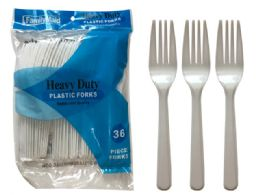 96 Units of 36 Count Plastic Spoons Heavy Duty Restaurant Quality - Disposable Cutlery