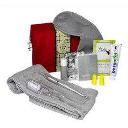 18 Units of Small Red Bag Personal Essential Travel Kit 11 Piece Kit - Toothbrushes and Toothpaste