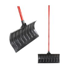"6 Units of SNOW SHOVEL PUSHER 18""""""""X14"""""""" 21"""""""" DEEP RIB HEAVY DUTY 48"""""""" LACQUERED HARDWOOD HANDLE - Garden Tools"