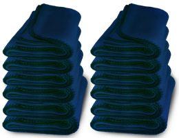 48 Units of Yacht & Smith 50x60 Warm Fleece Blanket, Soft Warm Compact Travel Blanket Solid Navy - Sleep Gear