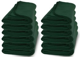 48 Units of Yacht & Smith 50x60 Warm Fleece Blanket, Soft Warm Compact Travel Blanket Solid Hunter Green - Sleep Gear