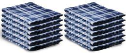 48 Units of Yacht & Smith 50x60 Warm Fleece Blanket, Soft Warm Compact Travel Blanket Navy Plaid - Sleep Gear