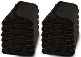 48 Units of Yacht & Smith Large 90x60 Warm Fleece Blanket, Soft Warm Compact Travel Blanket Solid Black - Sleep Gear